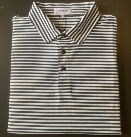 Mens Calvin Klein Stripe Polo Iron/White