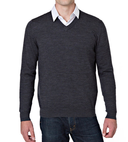 Mens Rough Dress Merino V Neck Sweater Charcoal