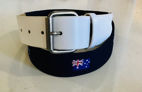 Mens Marki Deluxe Aussie Flag Woven & Leather Belt White/Blue