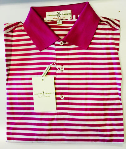 Mens Fairway & Greene Classic Lisle Stripe Polo Boysenberry