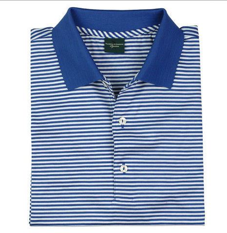 Mens Fairway & Greene Classic Lisle Stripe Polo Blue - Golf Stitch