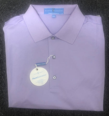 Mens Fairway & Greene Solid Performance Polo Wisteria - Golf Stitch
