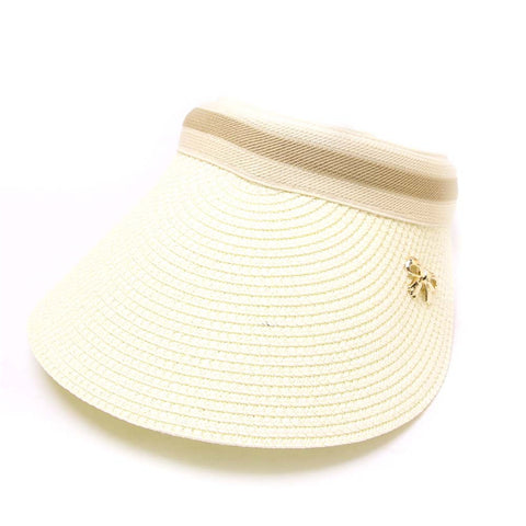 Ladies Chloe Lee Raffia Sun Visor White