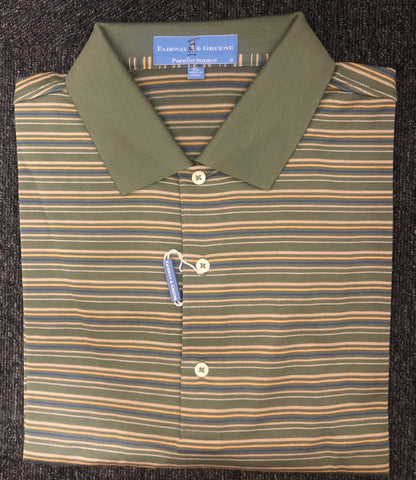 Mens Fairway & Greene Grayhawk Stripe Performance Polo Moss - Golf Stitch