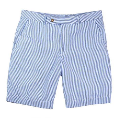 Mens Fairway & Greene Summer Seersucker Flat Front Shorts H2O - Golf Stitch