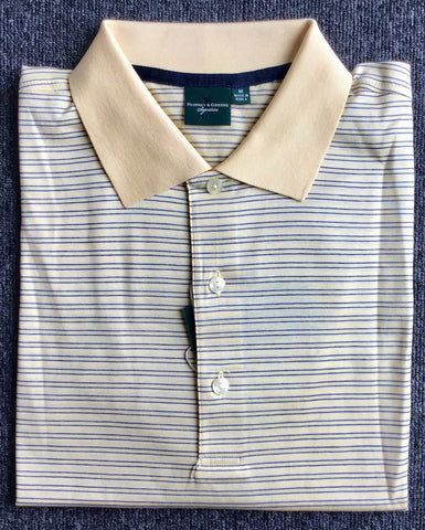 Mens Fairway & Greene Duce Stripe Lisle Polo Grapefruit