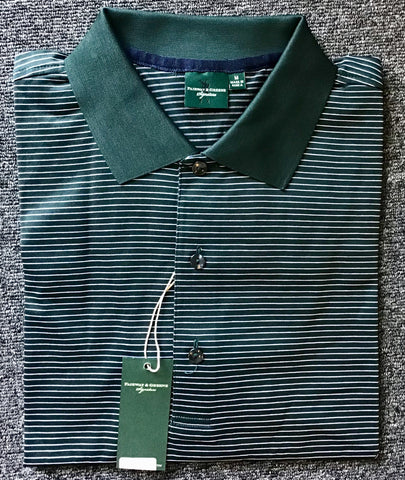 Mens Fairway & Greene Atlantic Stripe Lisle Polo Dk Green/White