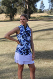Ladies Red Belly Indigo Clash Sleeveless Polo White