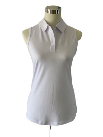 Ladies Red Belly Solid Sleeveless Polo White