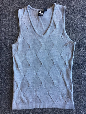 Ladies Cross wix Knit V Neck Vest Light Grey