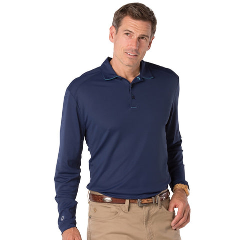 Mens IBKUL Solid Longsleeve Polo Navy