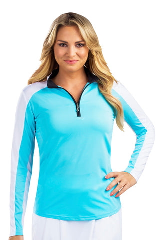 Ladies San Soleil Sunglow Colourblock Longsleeve  Mock Top Capri/White