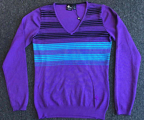 Ladies Cross Fringe V Neck Sweater Lilac