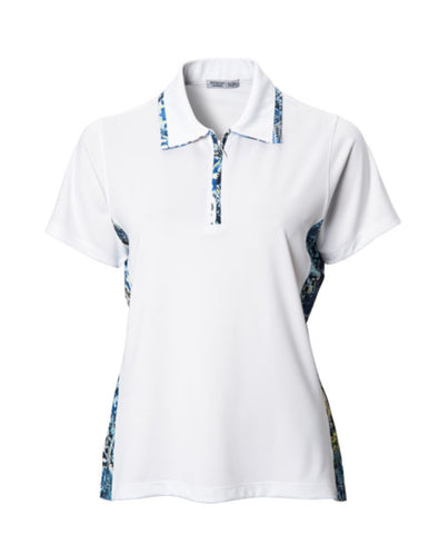 Ladies Bermuda Sands Side Print Polo White