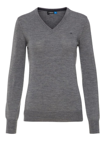 Ladies J Lindeberg Amaya Merino Sweater Grey Melange