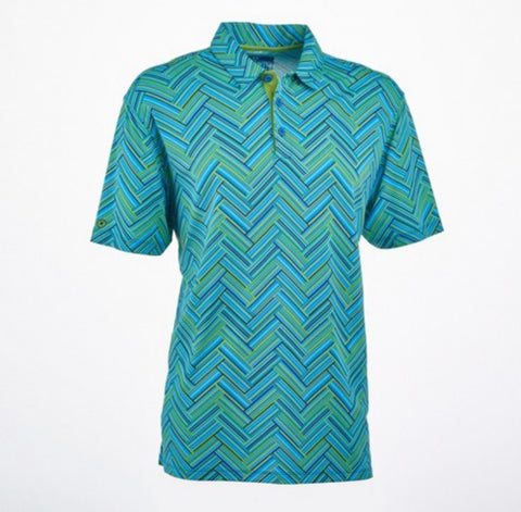 Mens IBKUL Striped Print Polo Blue/Neon Green