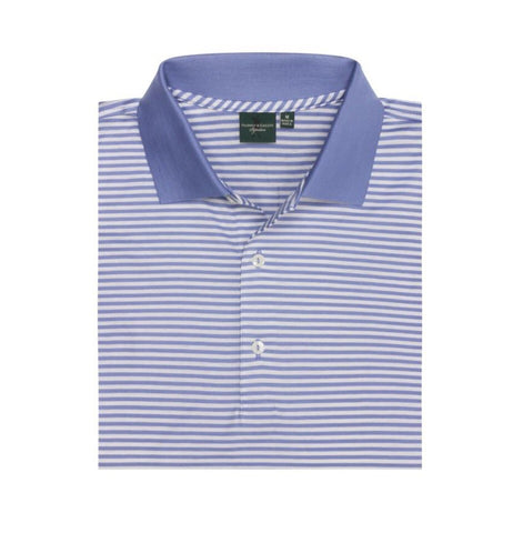Mens Fairway & Greene Signiture Bar Stripe Lisle Polo Mascari - Golf Stitch