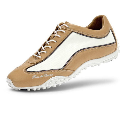 Ladies Duca Del Cosma Lounge Mare Evolution Golf Shoe Sand/White - Golf Stitch