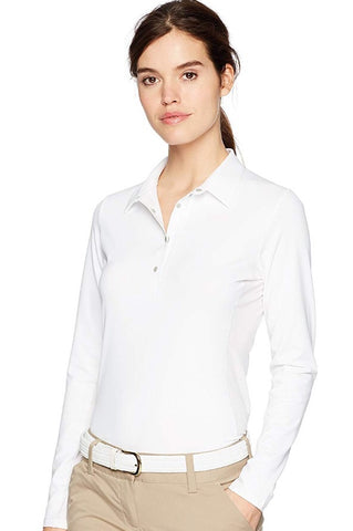 Ladies Cutter & Buck Long Sleeve Polo White