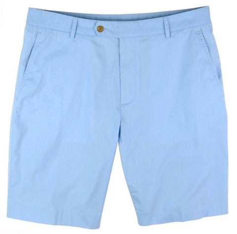 Mens Fairway & Greene Cotton Poplin Flat Front Shorts South Ocean - Golf Stitch