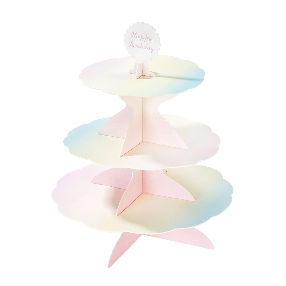 TREAT STAND - REVERSIBLE 3 TIER TALKING TABLES PASTEL MULTI TOPPER, TREAT STAND, TALKING TABLES - Bon + Co. Party Studio