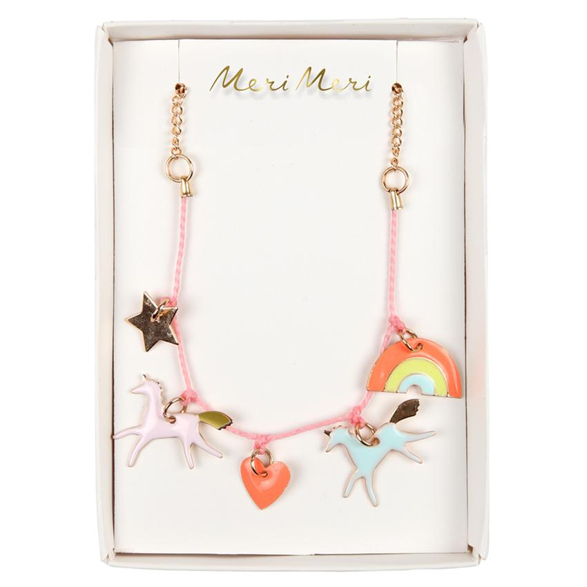 ACCESSORIES - CHARM NECKLACE UNICORNS + RAINBOWS, ACCESSORIES, MERI MERI - Bon + Co. Party Studio