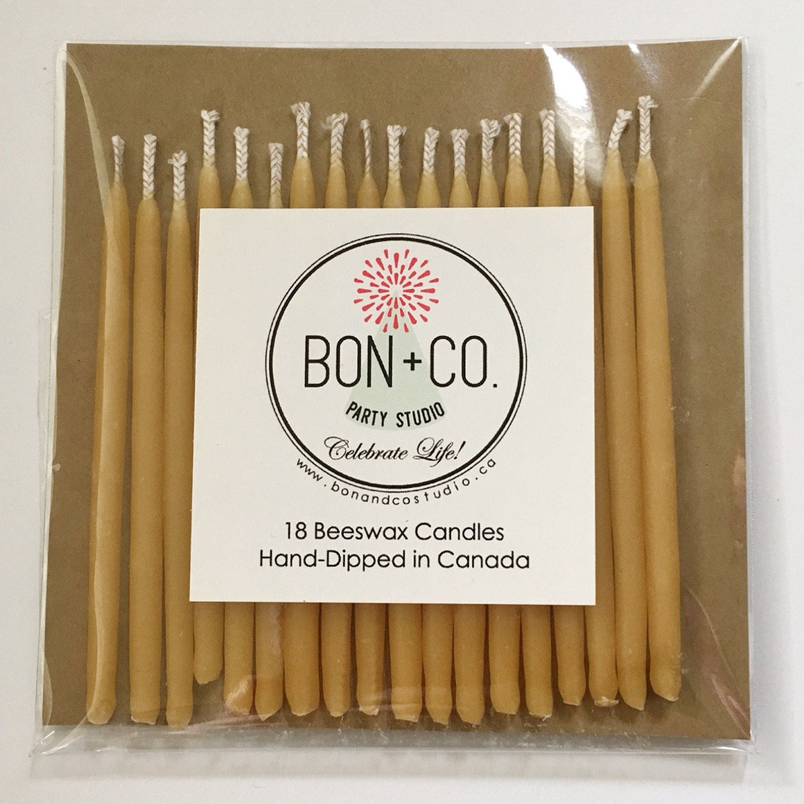 NATURAL PARTY CANDLES - BEESWAX NATURAL, Candles + Sparklers, BON + CO - Bon + Co. Party Studio