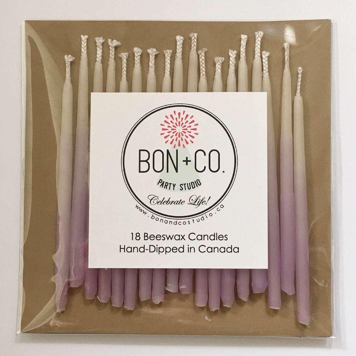 "CANDLES 3"" BEESWAX - OMBRE LAVENDER, Candles + Sparklers, BON + CO - Bon + Co. Party Studio"