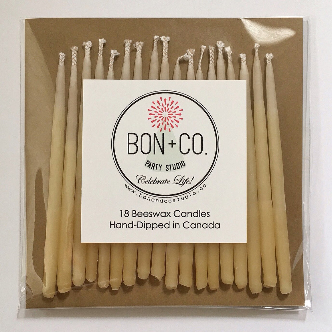 NATURAL PARTY CANDLES - BEESWAX OMBRE, Candles + Sparklers, BON + CO - Bon + Co. Party Studio