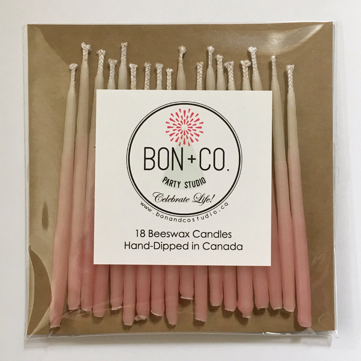 NATURAL PARTY CANDLES - BEESWAX OMBRE PINK, Candles + Sparklers, BON + CO - Bon + Co. Party Studio