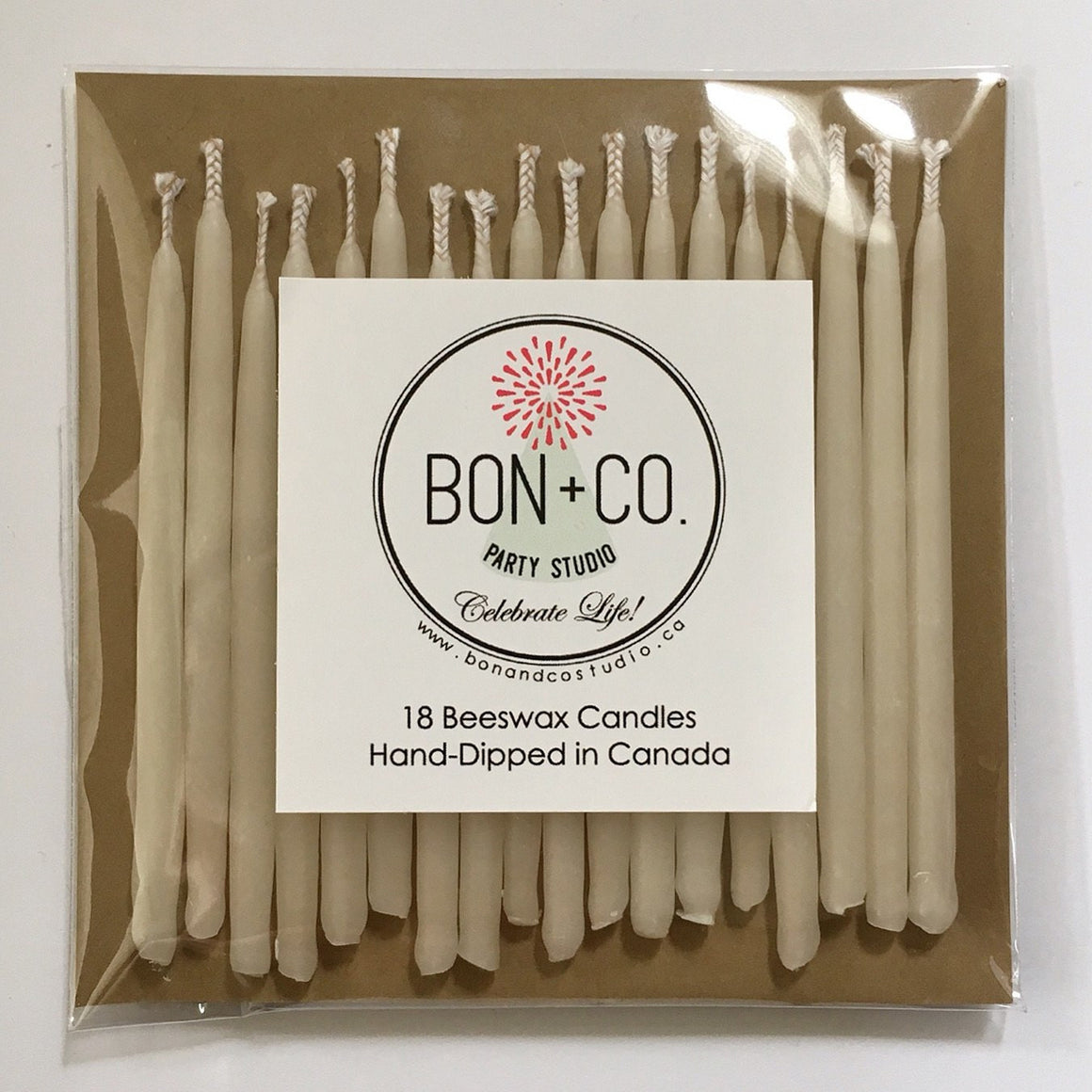 NATURAL PARTY CANDLES - BEESWAX IVORY WHITE, Candles + Sparklers, BON + CO - Bon + Co. Party Studio