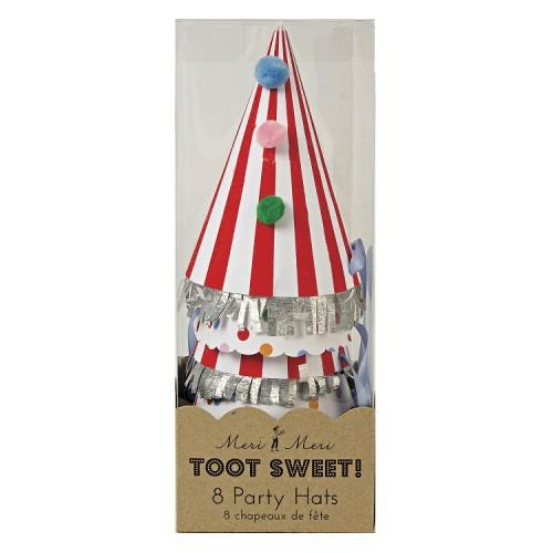 PARTY HATS - TOOT SWEET POM POM 8 PACK