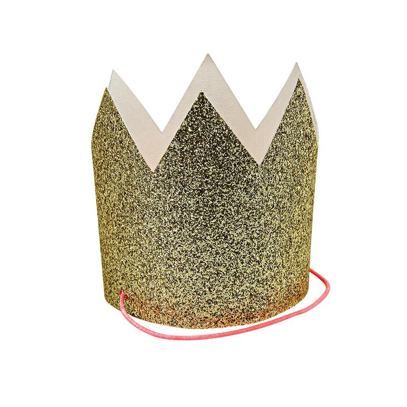 PARTY HATS - CROWNS GLITTER GOLD 8 PACK
