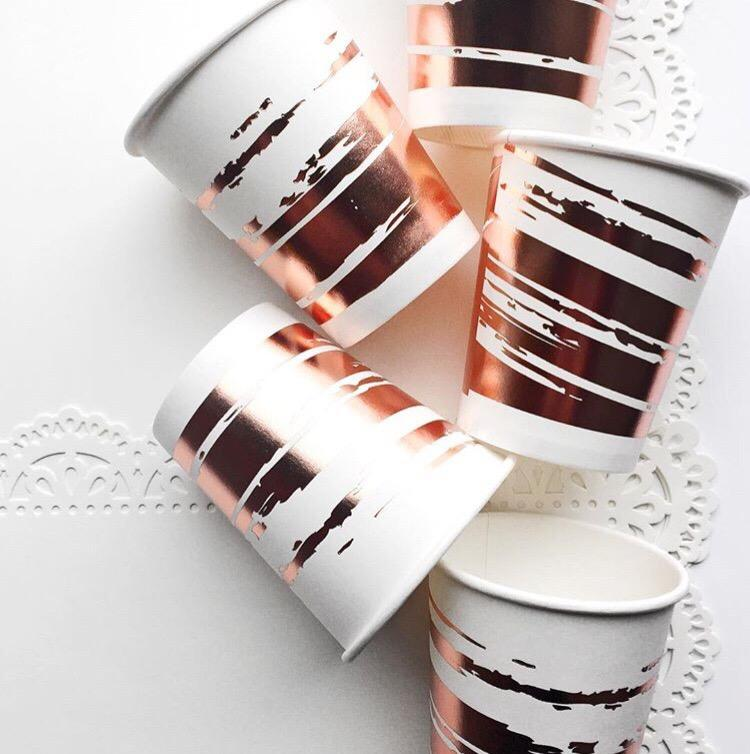 CUPS - BRUSHSTROKE ROSE GOLD, CUPS, PRIM + PARTY - Bon + Co. Party Studio