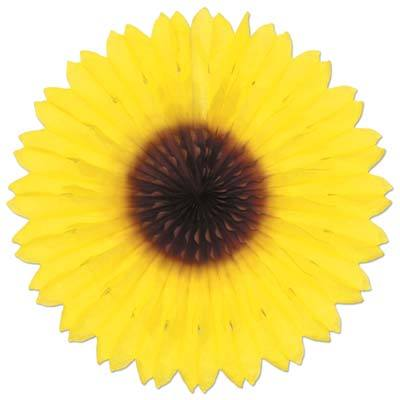 HANGING DECOR - TISSUE FAN SUNFLOWER, HANGING DECOR, SKS - Beistle Co - Bon + Co. Party Studio