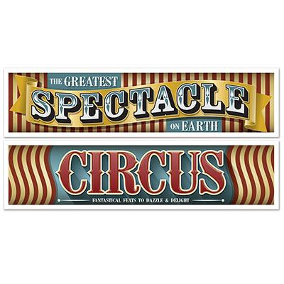 BANNER SIGN - VINTAGE CIRCUS SIGN 2 PACK, banners, SKS - Beistle Co - Bon + Co. Party Studio