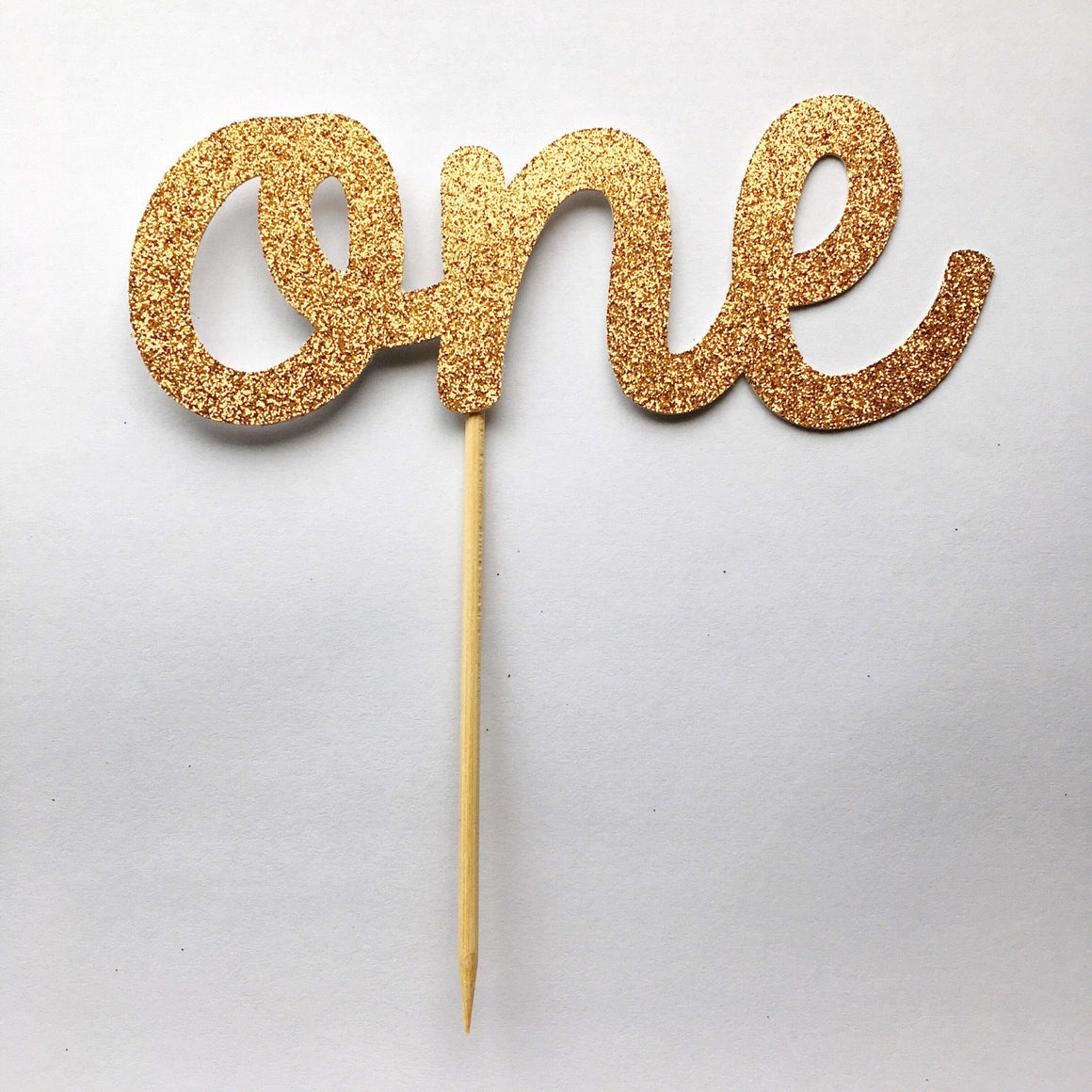 CAKE TOPPER - ONE ROSE GOLD GLITTER, Picks + Toppers, BON + CO - Bon + Co. Party Studio