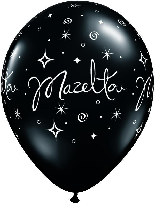 "BALLOON BAR - 11"" MAZELTOV BLACK, Balloons, QUALATEX - Bon + Co. Party Studio"