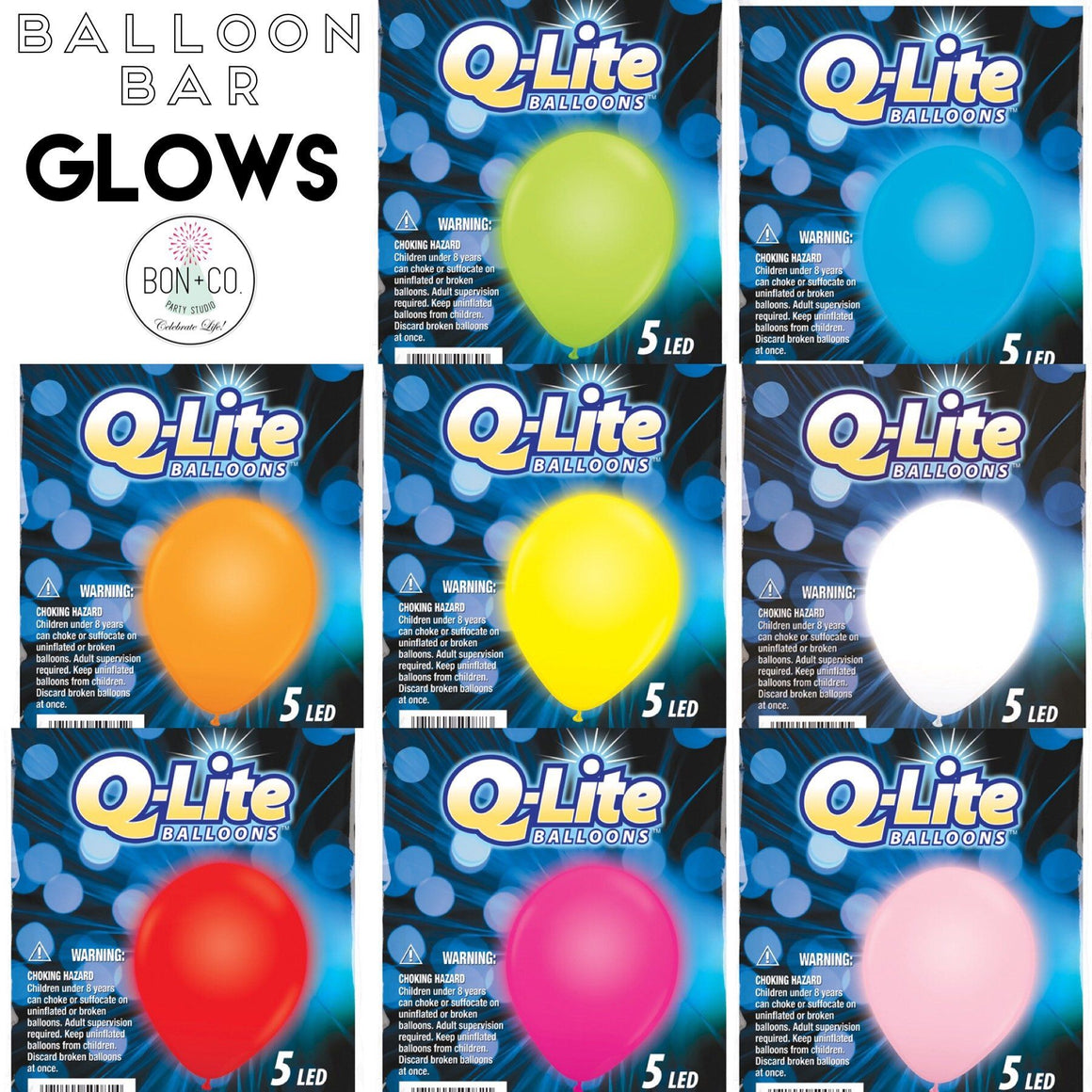 "BALLOON BAR - 11"" Q LITE GLOW 5 PACK, Balloons, QUALATEX - Bon + Co. Party Studio"