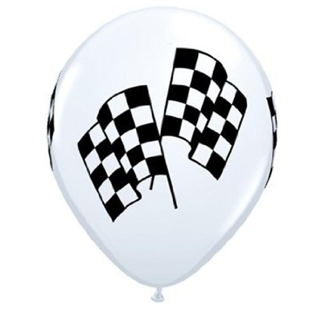 "BALLOON BAR - 11"" CHECKERED FLAG, Balloons, QUALATEX - Bon + Co. Party Studio"