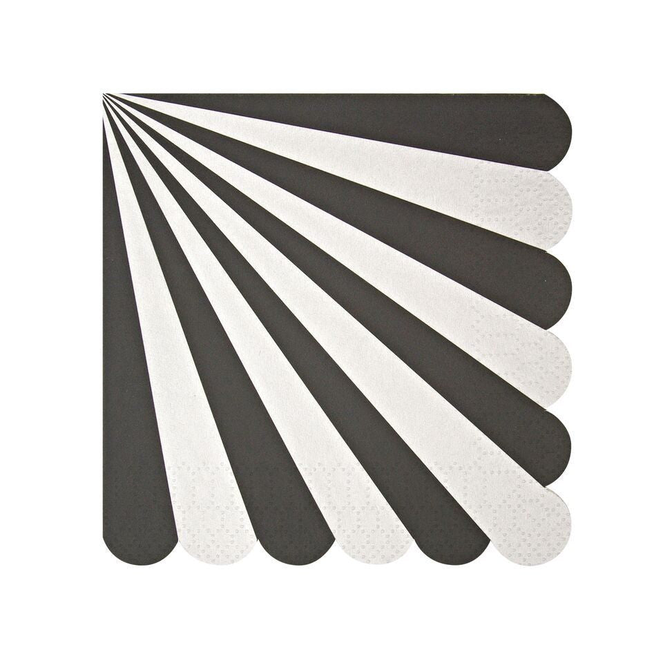 NAPKINS - COCKTAIL PINWHEEL BLACK STRIPE