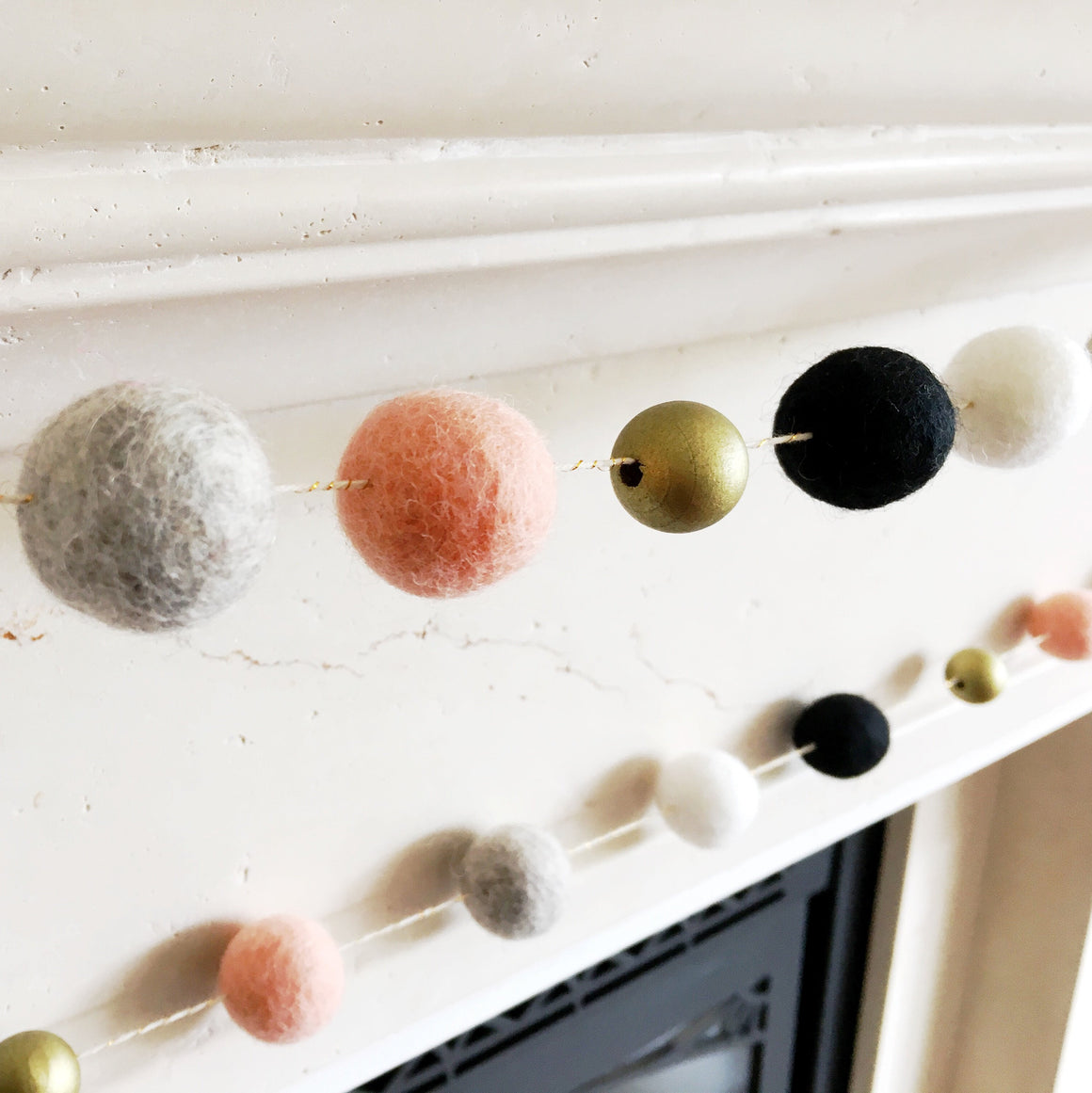 FELT BALL GARLAND - BLUSHING, Felt Pom Garlands, BON + CO - Bon + Co. Party Studio