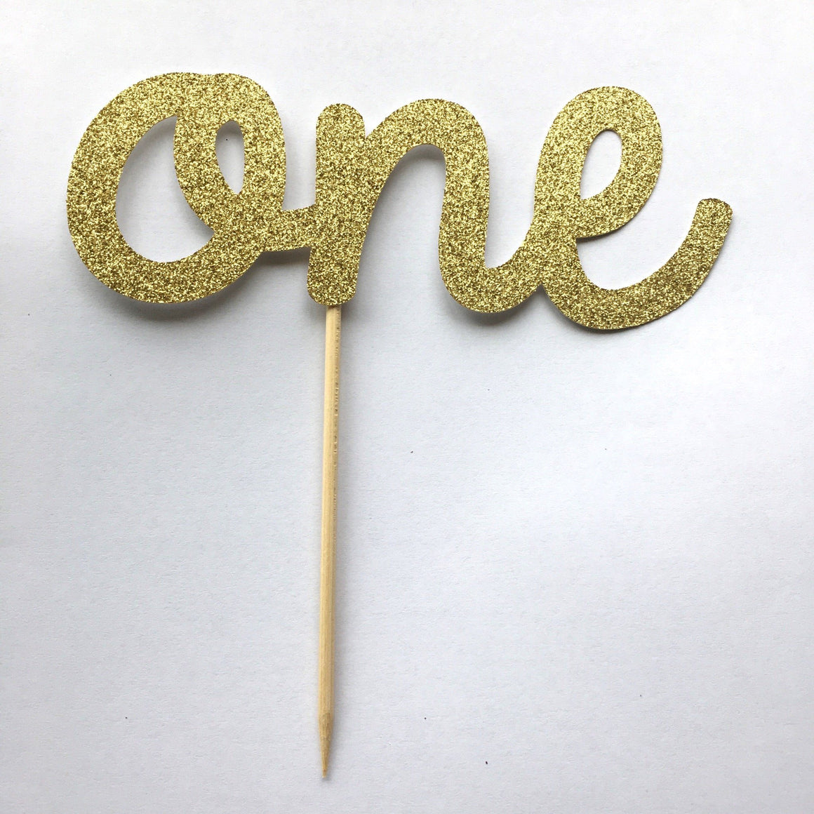 CAKE TOPPER - ONE GLITTER GOLD, Picks + Toppers, BON + CO - Bon + Co. Party Studio