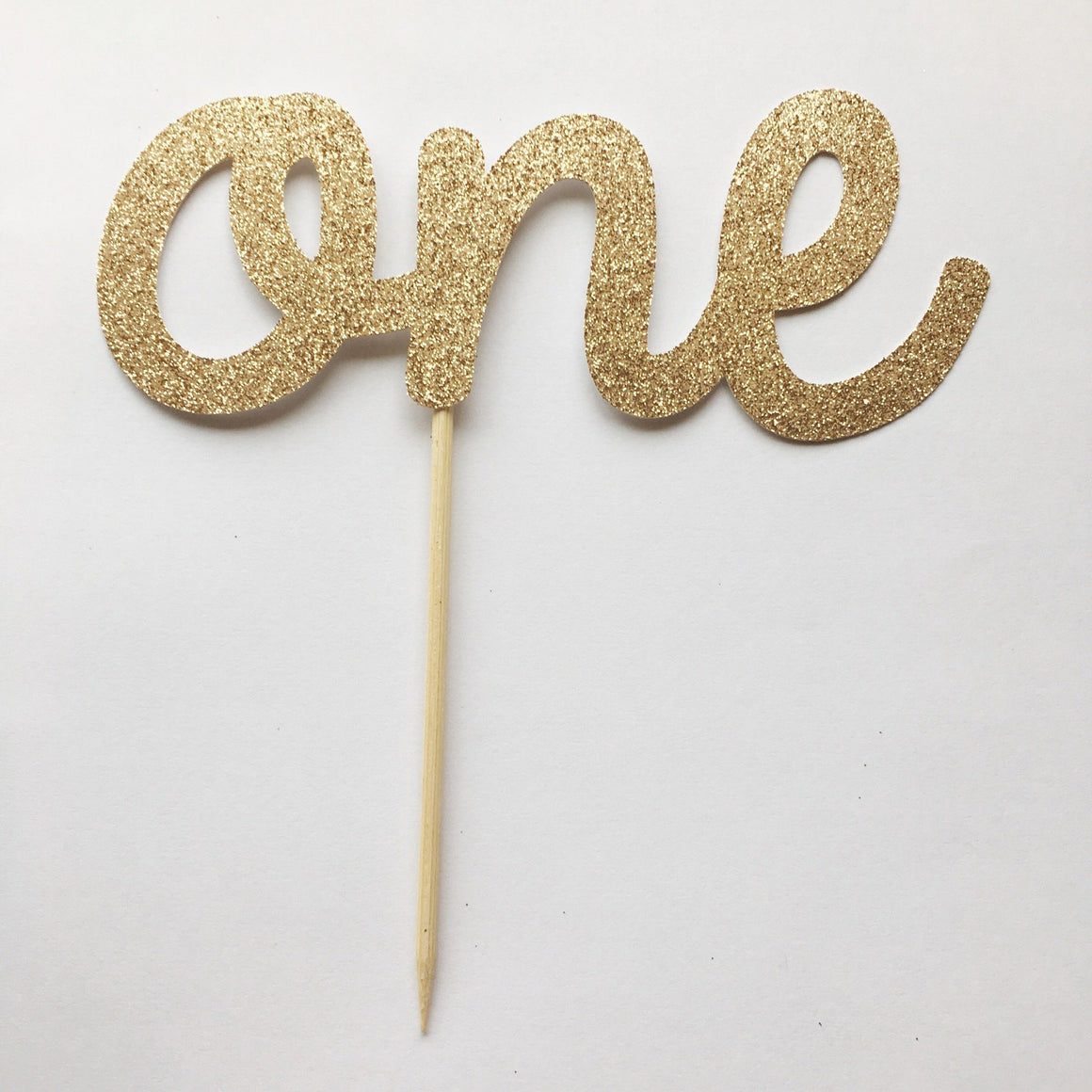 CAKE TOPPER - ONE WHITE GOLD GLITTER, Picks + Toppers, BON + CO - Bon + Co. Party Studio