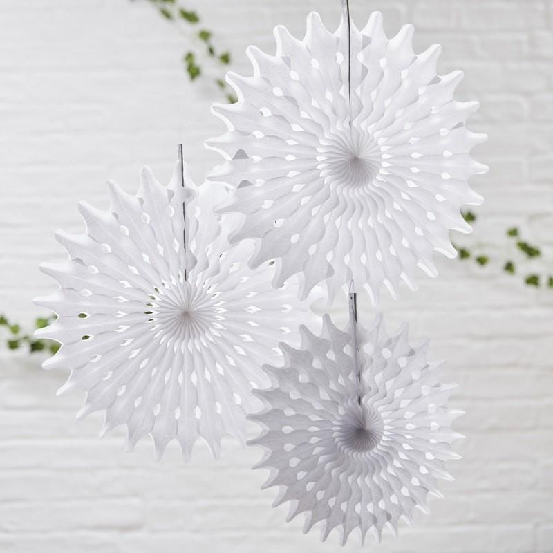 PARTY FANS - PINWHEELS WHITE BOTANICS, HANGING DECOR, GINGER RAY - Bon + Co. Party Studio