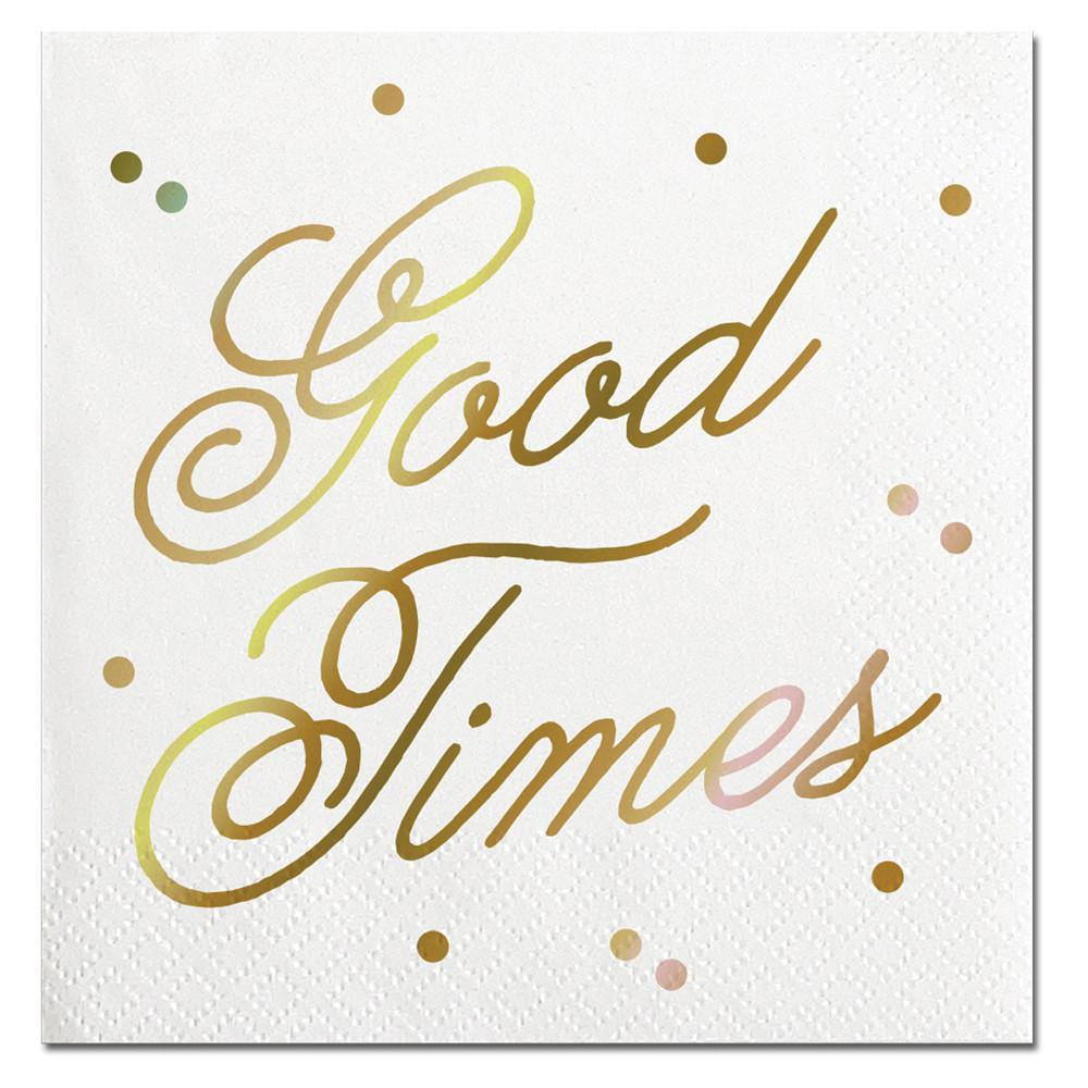 NAPKINS - COCKTAIL GOOD TIMES IRIDESCENT GOLD FOIL