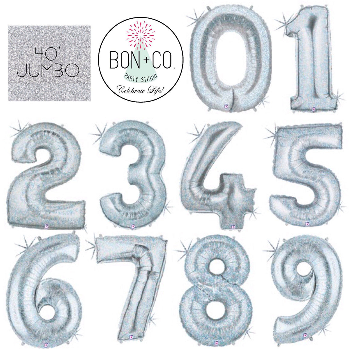"BALLOON BAR - 40"" JUMBO NUMBER HOLOGRAPHIC, Balloons, BETALLIC - Bon + Co. Party Studio"