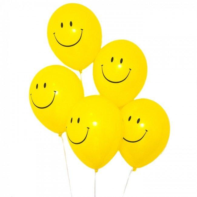 "BALLOONS - SMILEY HAPPY FACE 5"", Balloons, QUALATEX - Bon + Co. Party Studio"