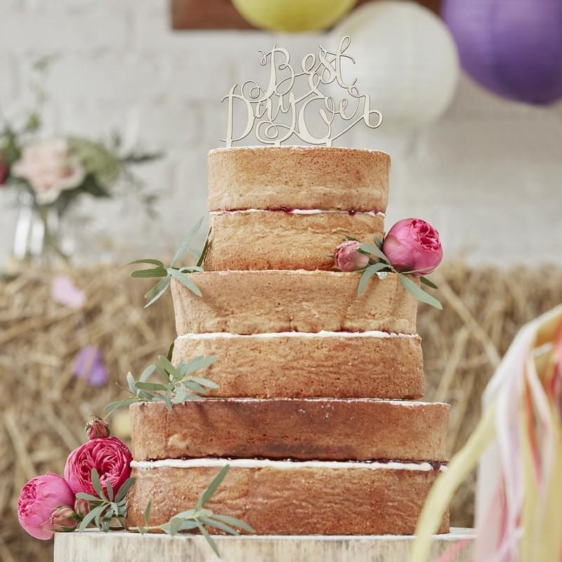 CAKE TOPPER - BEST DAY EVER WOODEN