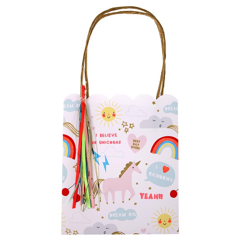 GIFT BAGS - RAINBOWS & UNICORNS TASSEL 8 PACK MERI MERI, GIFT GIVING, MERI MERI - Bon + Co. Party Studio